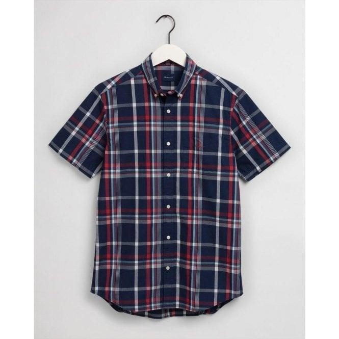GANT Regular Fit Tech Prep™ Short Sleeve Washed Indigo Plaid Shirt