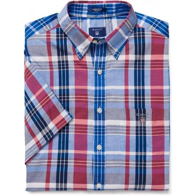 Gant short sleeve navy plaid madras shirt mens shirts o for Mens madras shirt sale