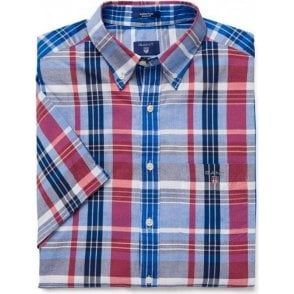 Short-Sleeve Navy Plaid Madras Shirt