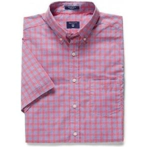 Short-Sleeved Dogleg Checked Shirt