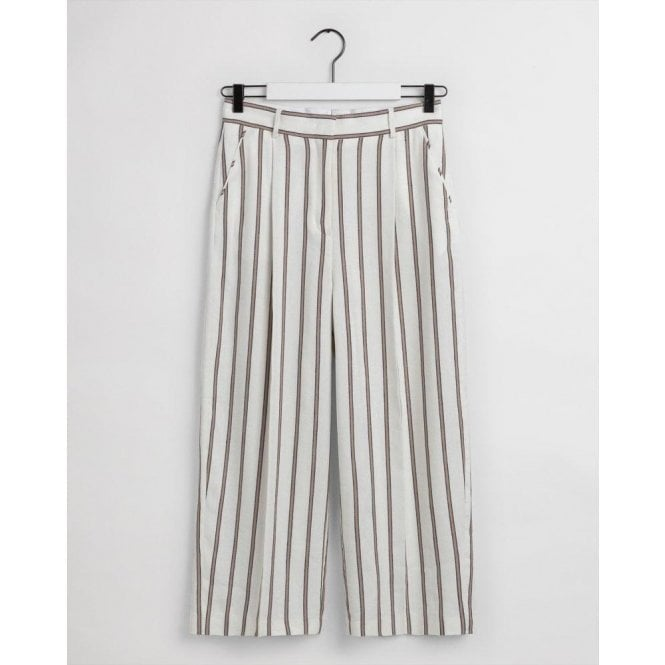 GANT Striped Linen Cropped Wide Pants