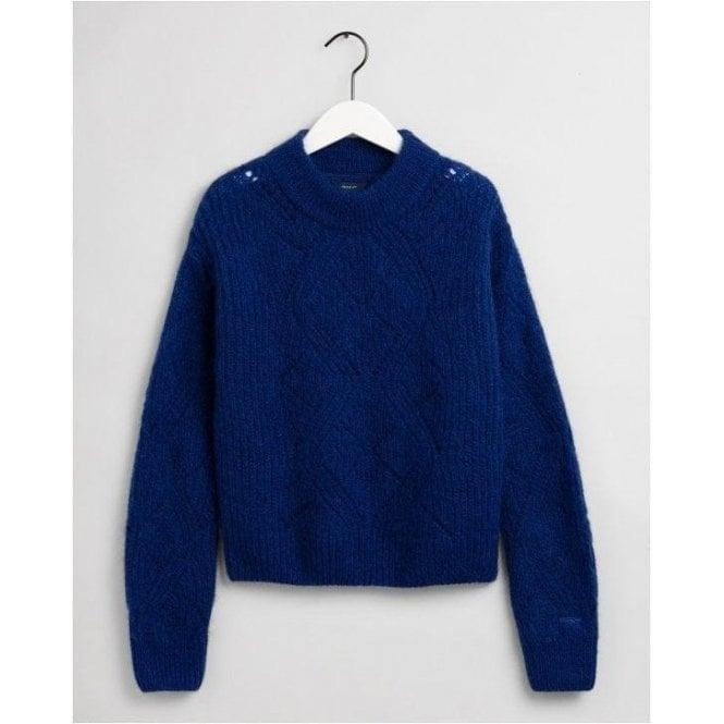 GANT Wool Mohair Pointelle Crew Neck Sweater