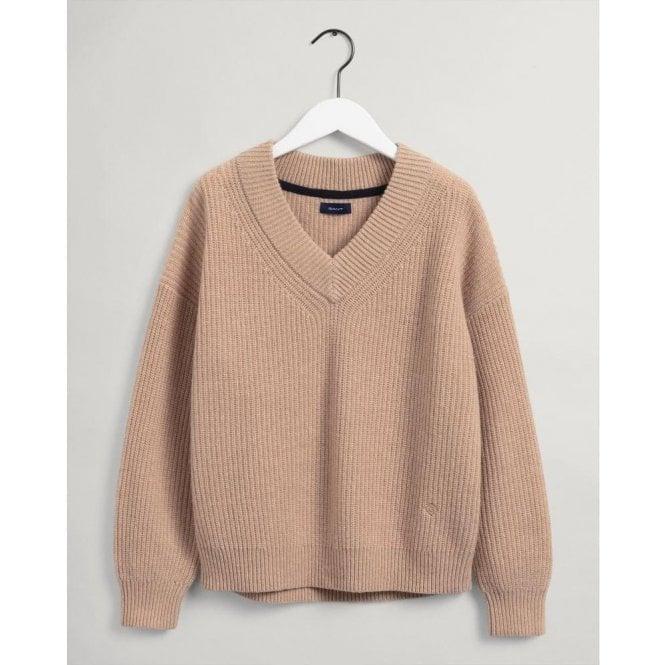 GANT Wool Rib V-Neck Sweater