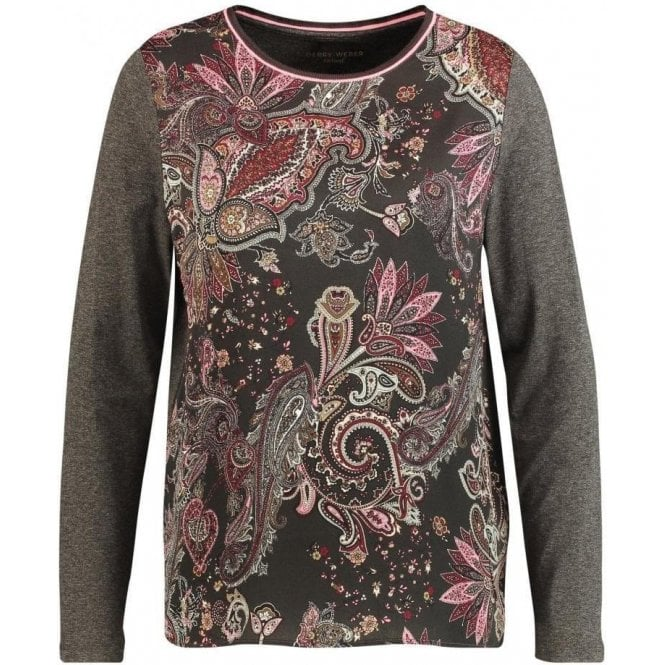 Gerry Weber Long sleeve top with a printed front section