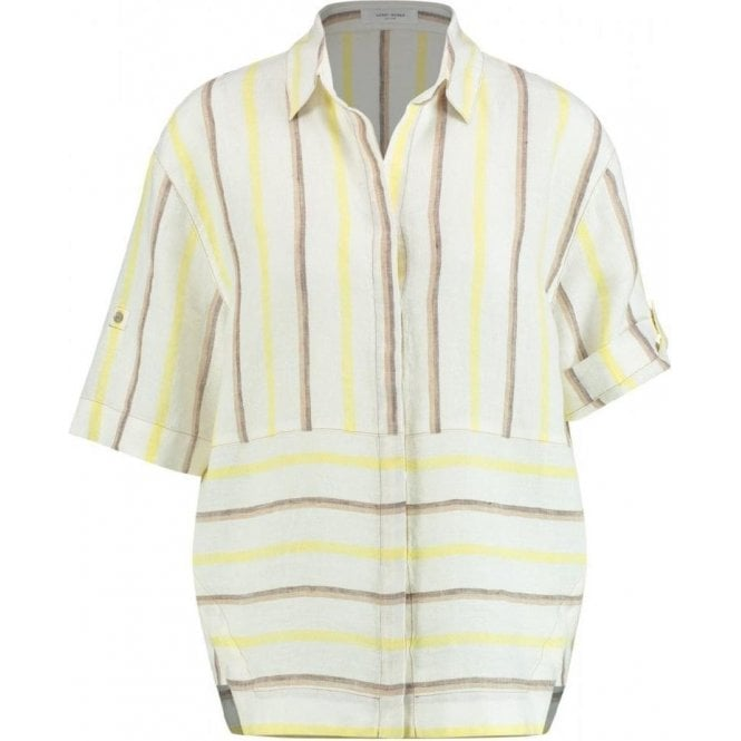 Gerry Weber Mixed Stripe Short Sleeved Linen Blouse