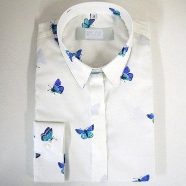 Butterfly Print Cotton Poplin Shirt