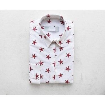 Starfish Print Cotton Poplin Shirt
