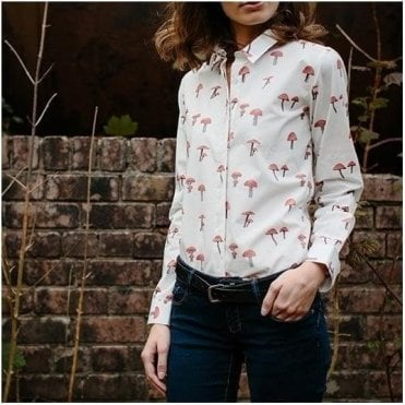 Toadstool Print Cotton Poplin Shirt