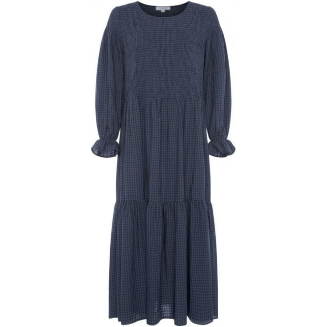 Great Plains Micro Gingham Long Sleeve Round Neck Smock Dress