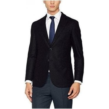 Plain Wool Twill Single Breasted Blazer
