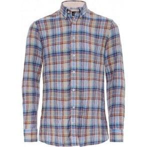Slim Fit Linen Cuba Check Shirt