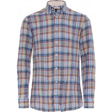 Slim Fit Linen Cuba Check Shirt