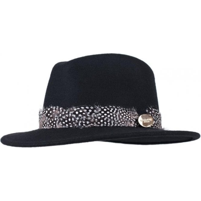 Hicks & Brown The Suffolk Fedora in Black with Guinea Feather Wrap