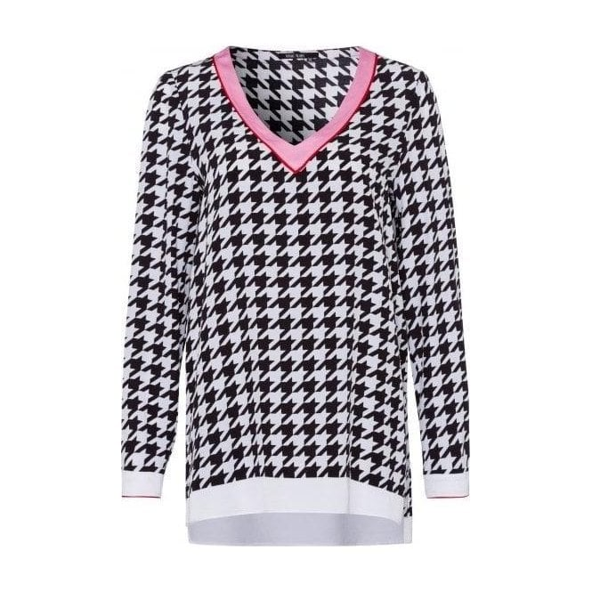 Marc Aurel Houndstooth Print Blouse