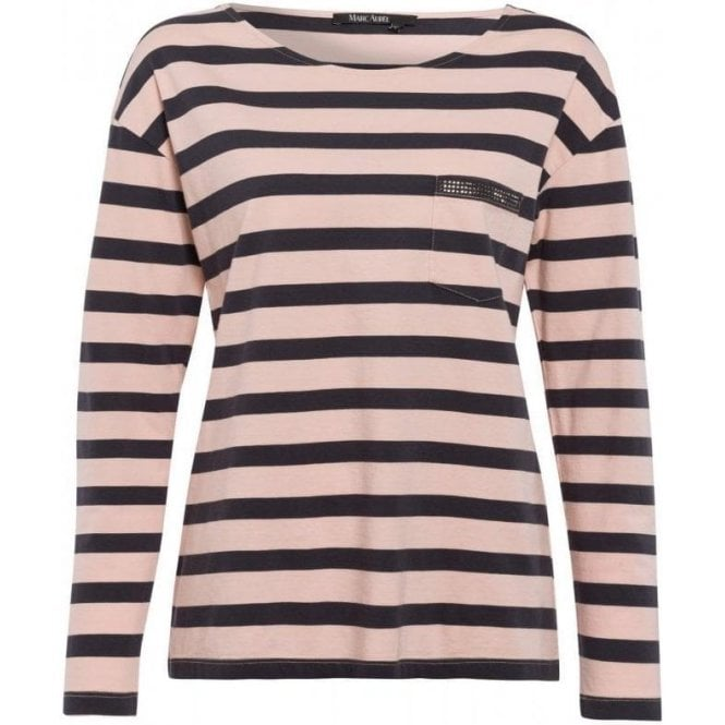 Marc Aurel Striped Shirt with Rhinestones
