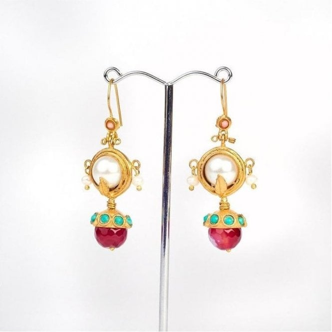 My Doris Ottoman Ball Drop Pearl and Red Earrings