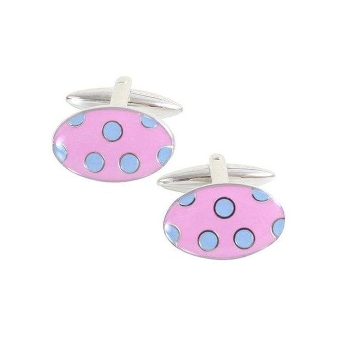 O&C Butcher Blue Spots on Pink Cufflinks