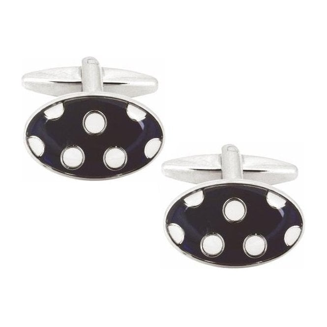 O&C Butcher White Dots on Blue Cufflinks