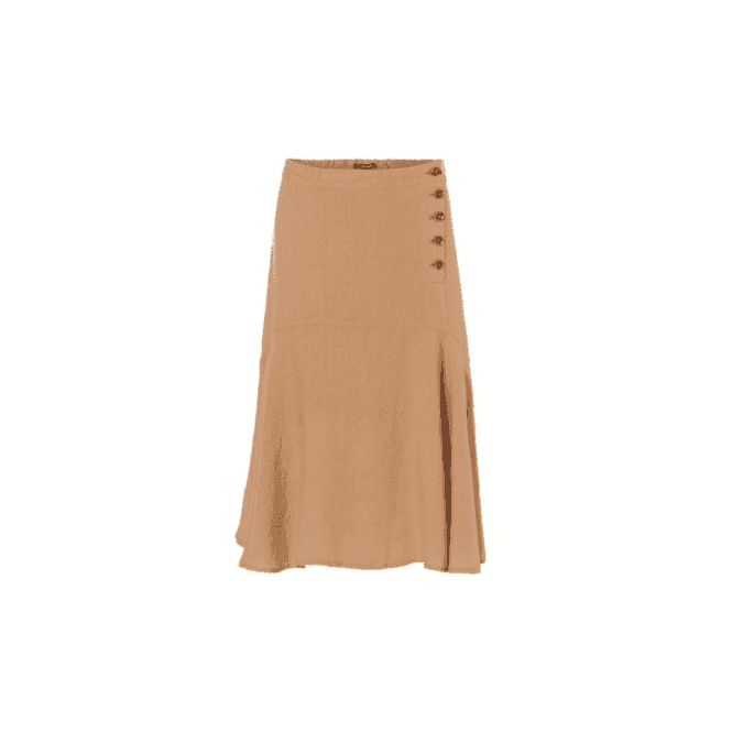 Olsen 100% Linen Midi Skirt with Front Button Detail and Rear Waist Elastic