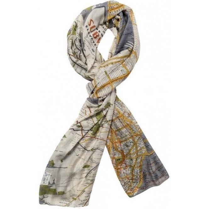 One Hundred Stars New York City Grey Map Scarf