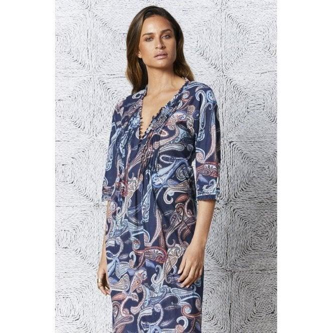 One Season Menorca Print Long Poppy Dress