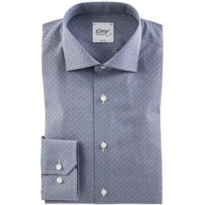 Steel Blue Shirt With Geometrical Print