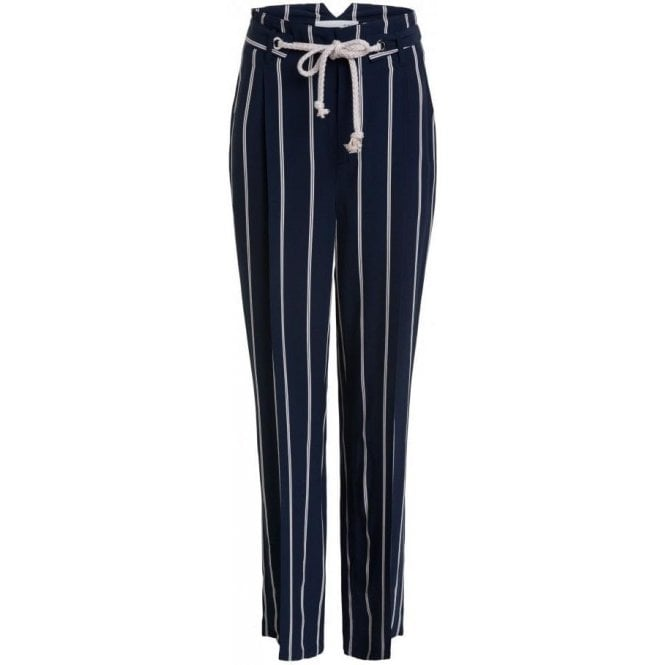 Oui Creased-Front Trousers With Cord