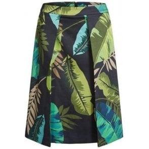 Leaf Print Midi Skirt