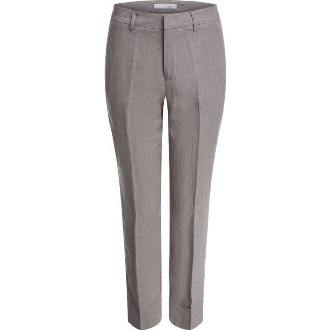 Oui Linen Trousers with Turn-Up