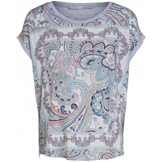 Oui Paisley Print Jersey Back T-Shirt