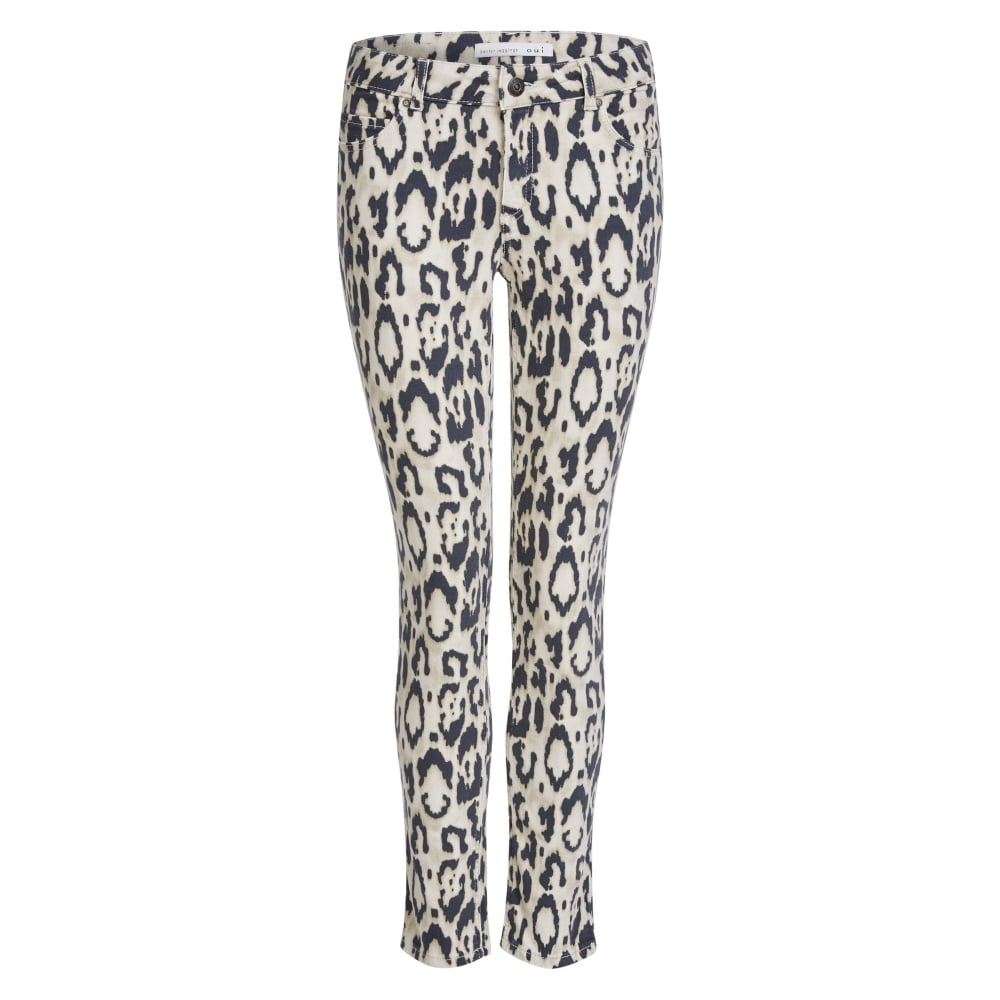 3468ff38d710d Oui Slim Fit Leopard Print Baxtor Jeggings - Womens Trousers & Jeans ...