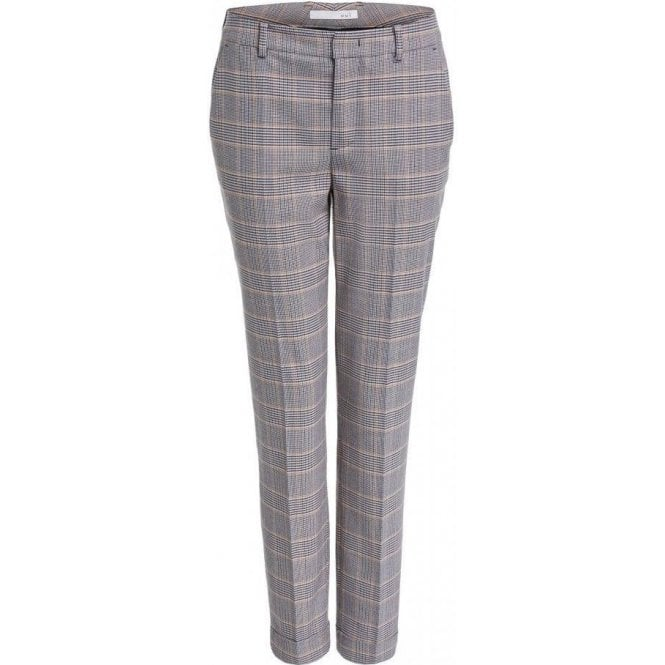 Oui Straight Fit Checked Suit Trousers