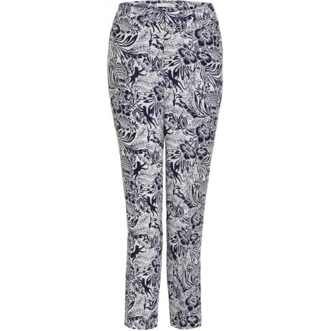 Oui Tropical Print Linen Trousers
