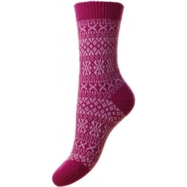 Faith - Winter Fairisle - Cashmere Women's Luxury Socks
