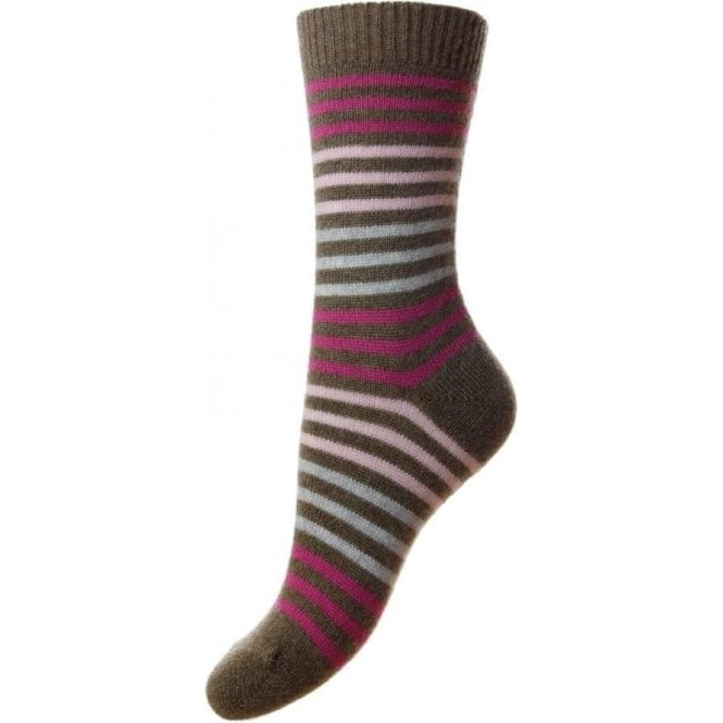 Pantherella Kyra - 3 Stripe Block Bands - Cashmere Women's Luxury Socks