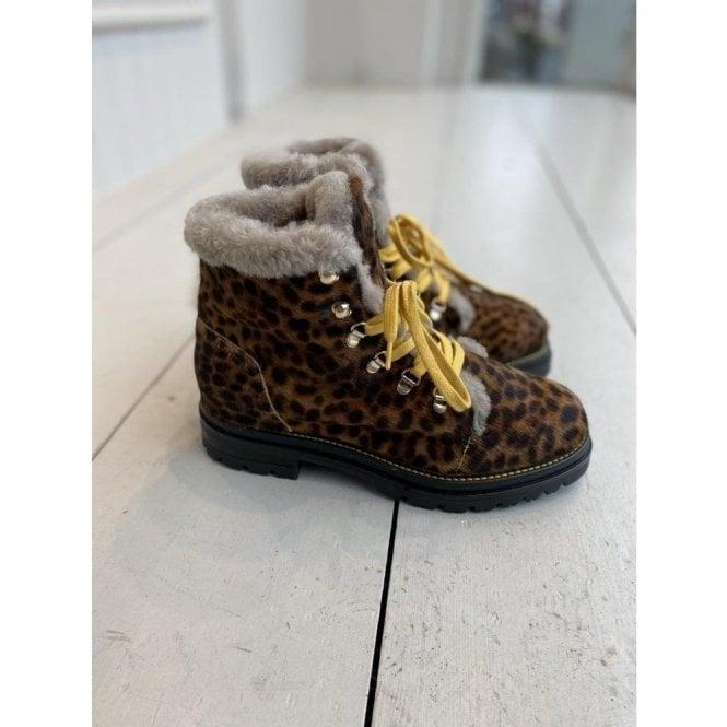 Paola Ferri Leopard Print Hiker Boot
