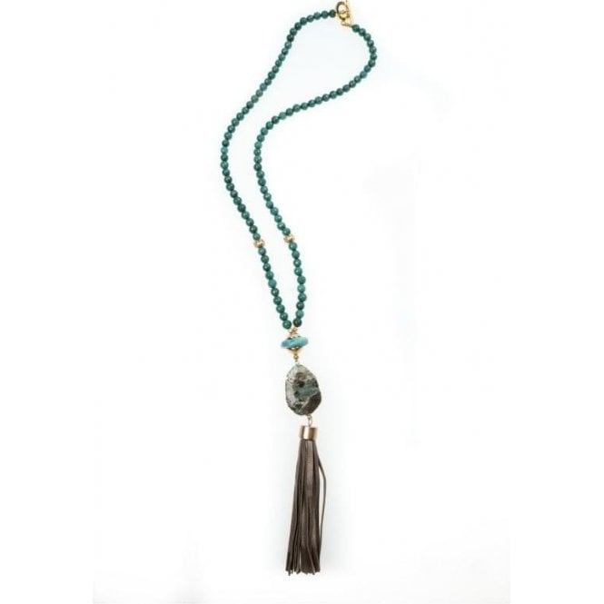 Pranella Vivian Teal Tassel Necklace