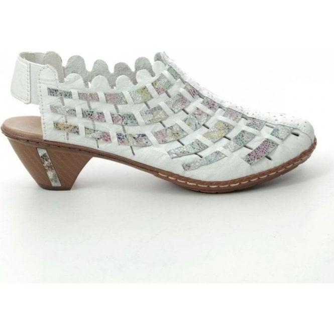 Rieker 46778-80 Ladies White Combination Slip On Shoes