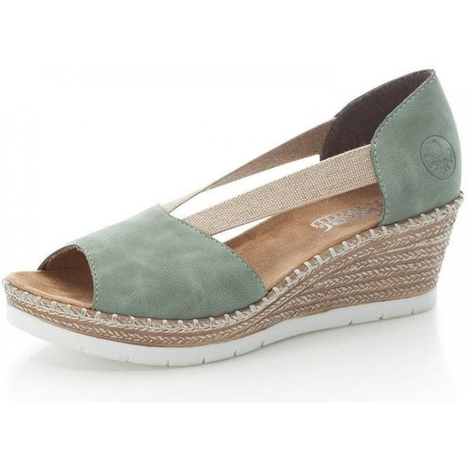 Rieker 619X1-52 Ladies Green Slip On Sandals