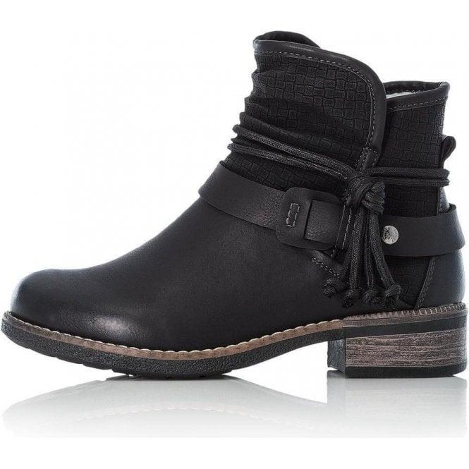 Rieker 94689-00 Ladies Black Zip Up Ankle Boots