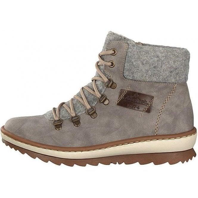 Rieker Z8643-40 Ladies Grey Lace Up Ankle Boots