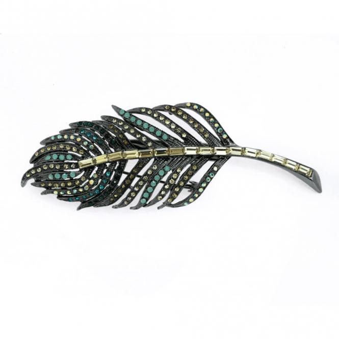 Rosie Fox Iridescent Crystal Leaf Hairclip & Brooch