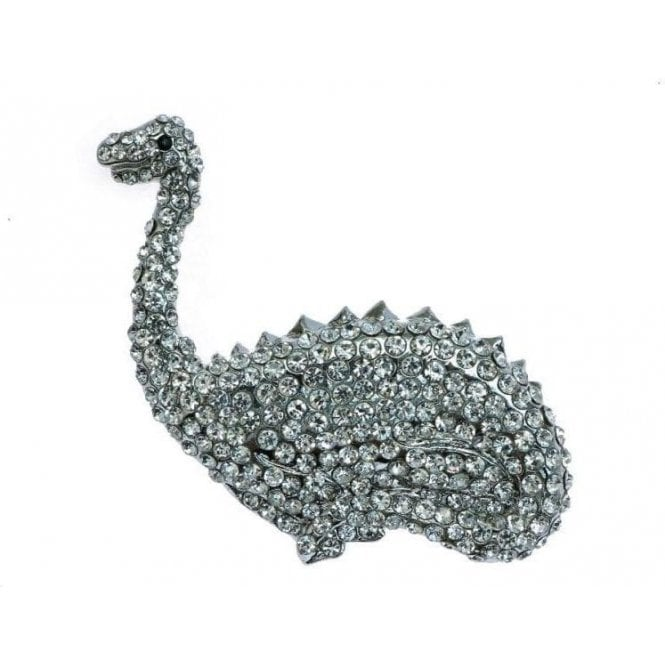 Rosie Fox Sparkling Silver Dinosaur Crystal Brooch & Hairclip