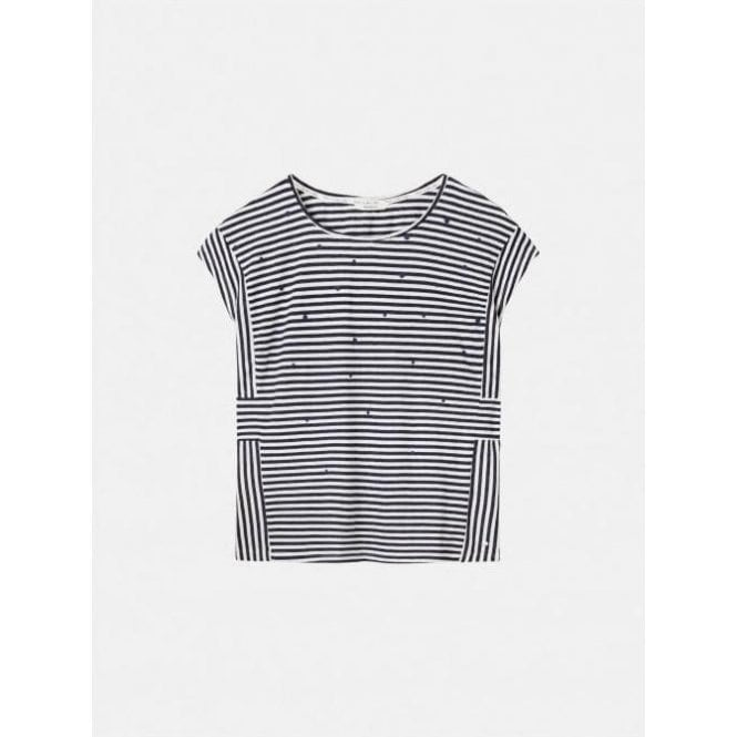 Sandwich Dotted Print Striped T-shirt