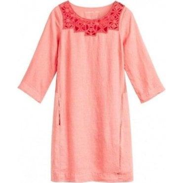 Linen dress with openwork front