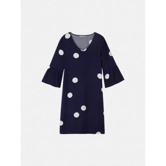 Sandwich Trumpet Sleeve Polka Dot Dress