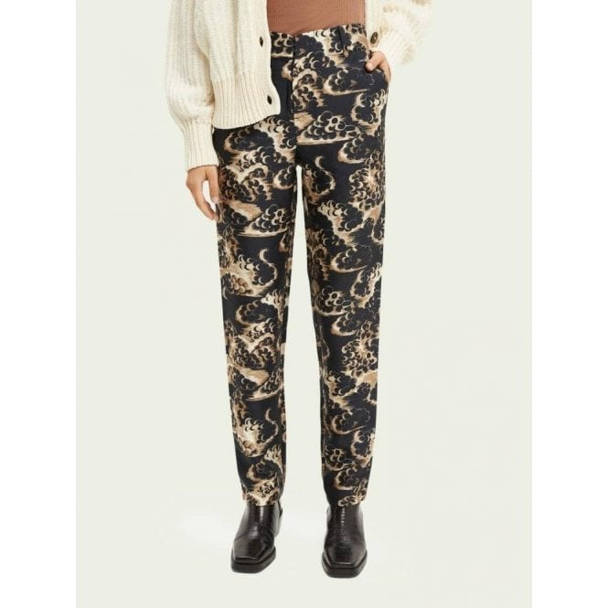 Scotch & Soda Printed Tapered Mid-Rise Trousers