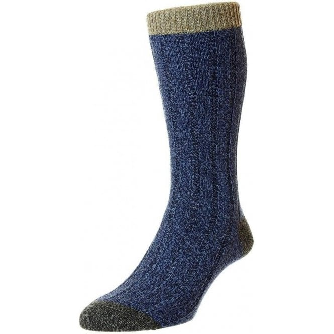 Scott-Nichol Burghley - 6x2 Rib Wool - Contrast Top Heel & Toe Men's Sock