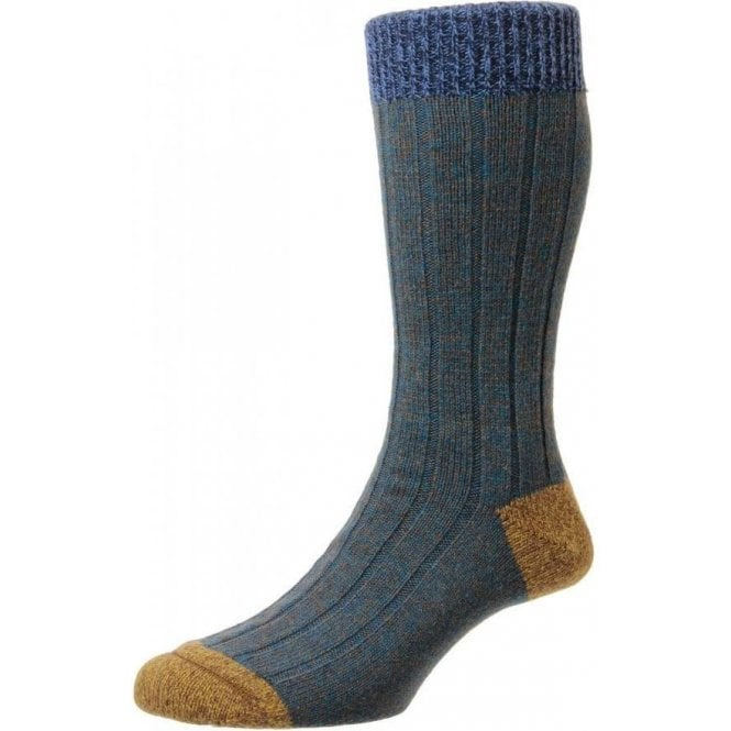 Scott-Nichol Burghley 6x2 Rib Wool - Contrast Top Heel & Toe Men's Sock