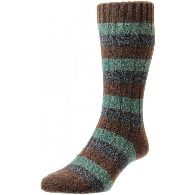 Scott-Nichol Riddlesden - 6x2 Rib 3 Colour Stripe - Wool Men's Sock